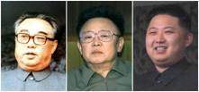 La dinastía de gobernantes comunistas de Corea del Norte: de izquierda a derecha, el fundador, Kim Il-sung; el dirigente fallecido, Kim Jong-il y su hijo, y heredero, Kim Jong-un