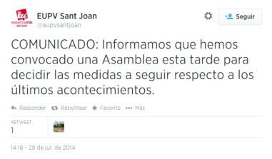 tuit de IU Sant Joan